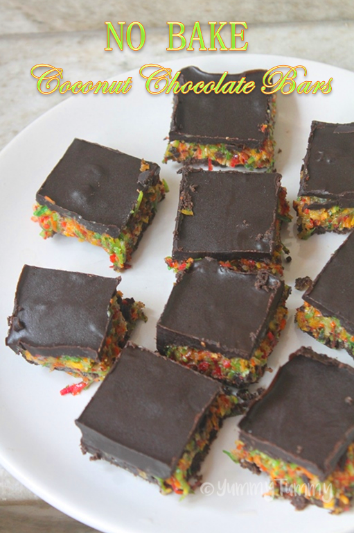 No Bake Chocolate Coconut Bars Recipe Yummy Tummy