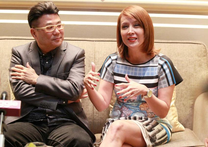 Aileen Tan (right), along with actors Wang Lei and Marcus Chin, are part of Singapore's first Chinese dialect series here in 37 years.