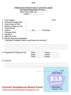 formulir pendaftaran ekskul futsal