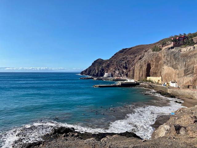 Beach in between the cliffs at Sardina, Gran Canaria, Spain