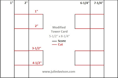 Tower Card Cutting Template & Video Tutorial ~ www.juliedavison.com