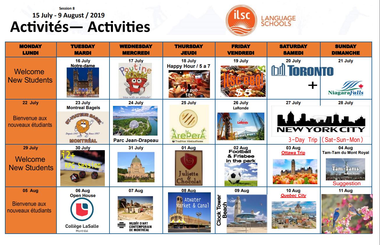 Calendário atividades ILSC