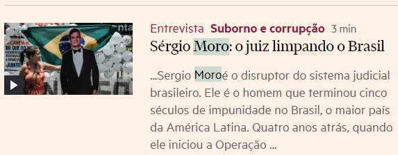 FINANCIAL TIMES: Moro entre os grandes do mundo