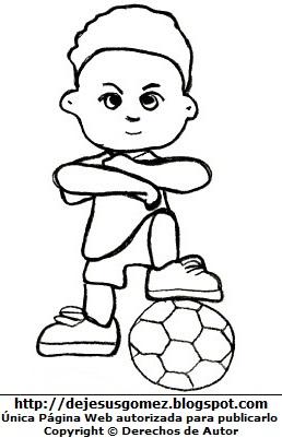 Dibujo de un niño pisando la pelota de fútbol para colorear, pintar e imprimir. Dibujo de un niño de Jesus Gómez