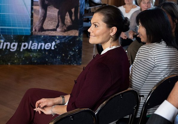 Crown Princess Victoria wore By Malene Birger silk bow blouse and By Malina trousers. Luca Berardi wins WWF's Young Enviromental Hero prize