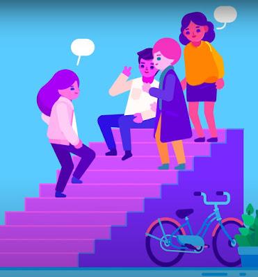 Ilustración de unos amigos charlando alegres en la calle, sentados o de pie en unas escaleras de acceso
