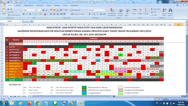 Download Kalender Pendidikan Madrasah Tahun Pelajaran 2021/2022 Format Exel Jawa Timur