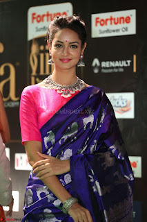 Shanvi Looks Super Cute in Pink Backless Choli Blue Saree at IIFA Utsavam Awards 2017 51.JPG
