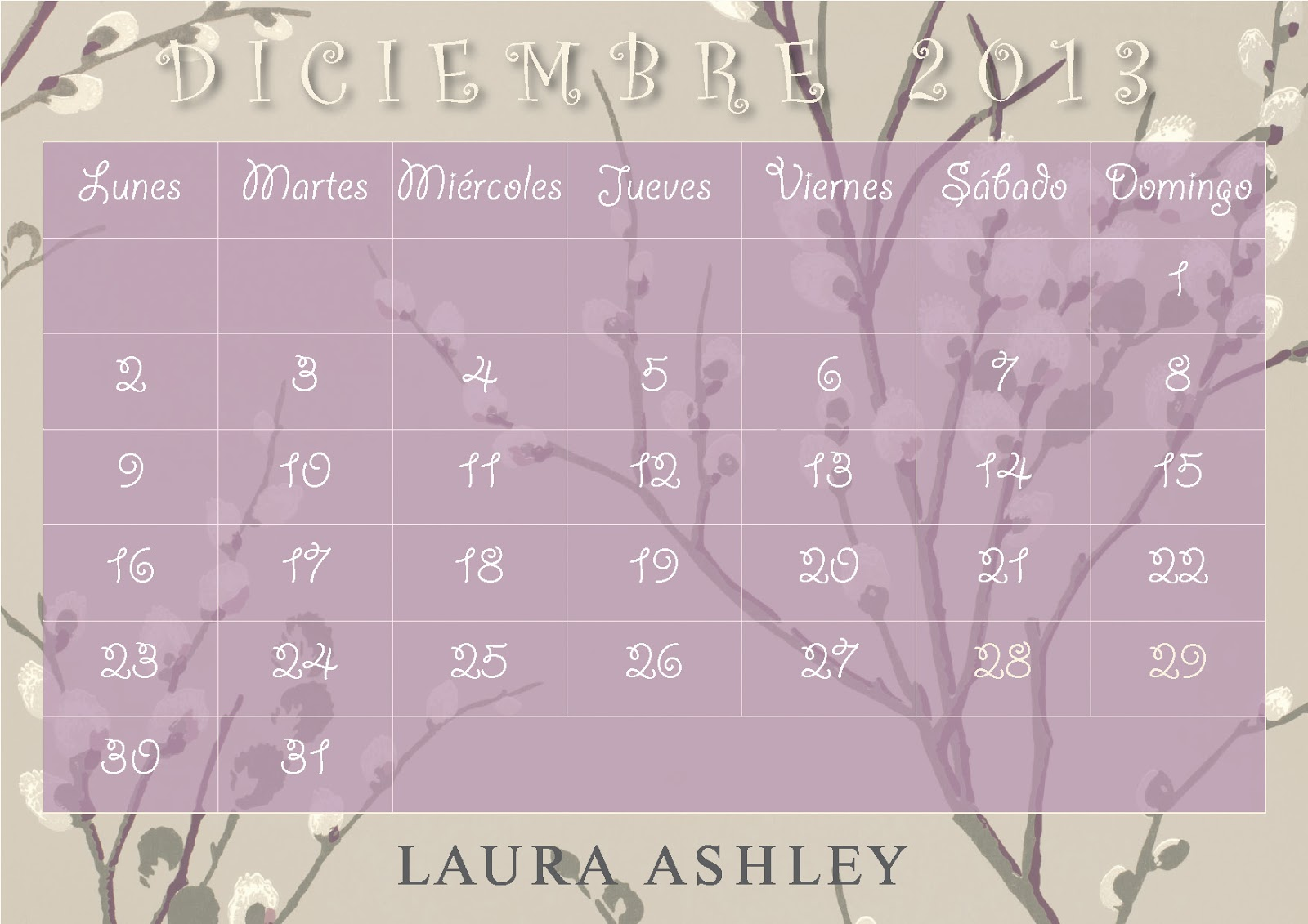 Calendario Laura Ashley Diciembre 2013