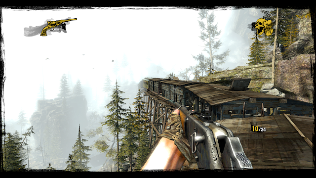 A screenshot of robbing a train on the game Call of Juarez: Gunslinger
