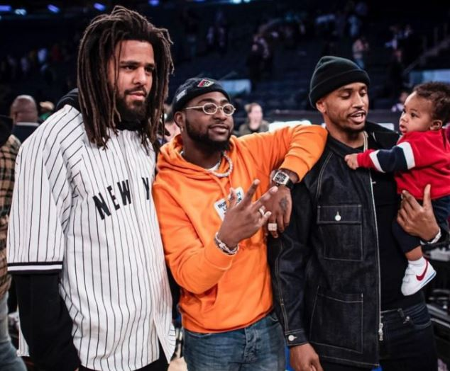 Nigerian Singer Davido pictured with J.Cole & Trey Songz
