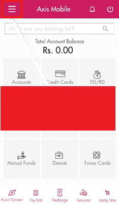 Axis forex card pin change
