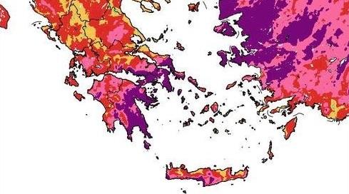 Η πιο δύσκολη μέρα σήμερα για φωτιές εν μέσω καύσωνα (χάρτης)