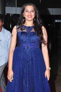 Singer Geetha Madhuri Pictures in Blue Long Dress at Oopiri Audio Launch 0002