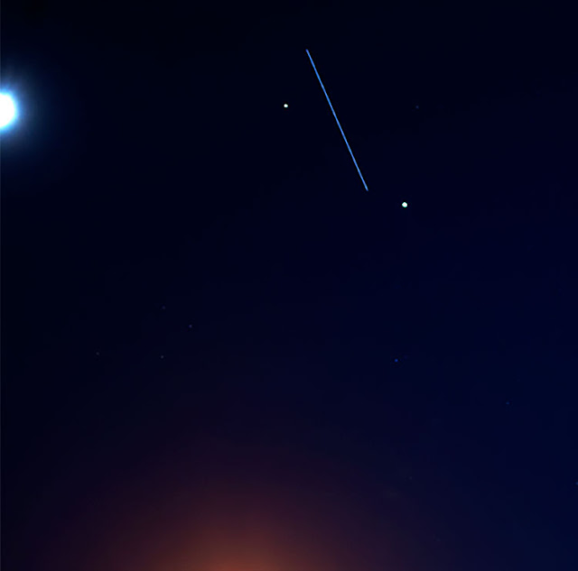 Cropped view of ISS as it passes between Jupiter and Saturn (Source: Palmia Observatory)