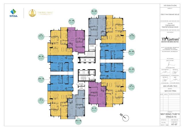 Mặt bằng điển hình tòa B chung cư Thống Nhất Complex