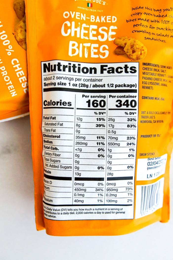 Trader Joe's Oven-Baked Cheese Bites nutrition information