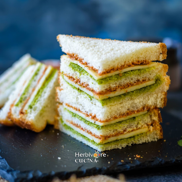 A stack of tricolor sandwiches