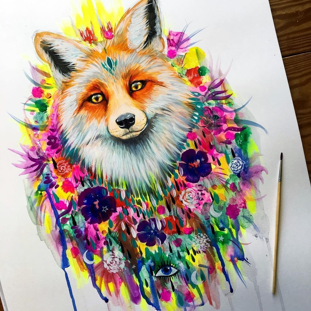 03-Sun-dance-Fox-Pixie-Cold-Fantasy-Animals-in-Different-Style-Drawings-www-designstack-co