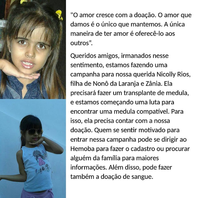 Filha de Nonô da Laranja, de Mairi-BA, precisará fazer transplante de medula