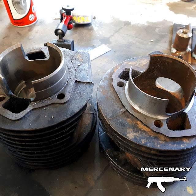 Before (left) and after shot showing a modified and unmodified Lambretta GP200 cylinder.