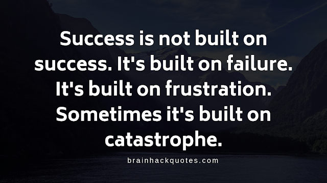 Success is not built on success. It's built on failure. It's built on frustration. Sometimes it's built on catastrophe.