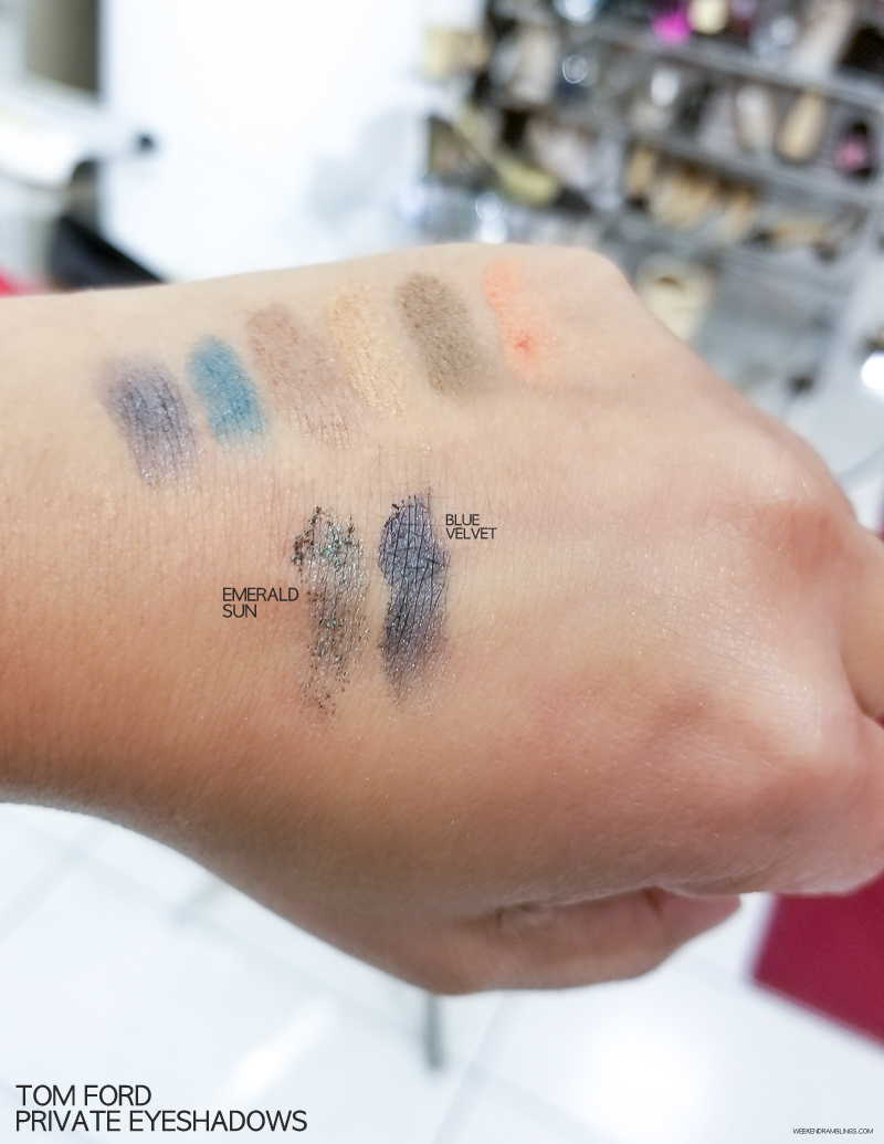 Tom Ford Makeup - Private Eyeshadow Singles - Swatches - Emerald Sun - Blue Velvet