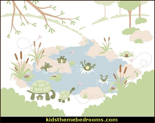 Frogs 'N Turtles Wall Mural - Paint by Numbers  frog theme bedrooms - frog bedroom decor - frog theme decor - frog bedding - frog themed gifts - froggy wallpaper frog murals - frog wall decals - frogs in a pond wall decor -  Frog Prince decor - pond theme decals - frog duvet set - decorating frog theme - frog theme for baby nursery - frog pond baby nursery - frog pond playroom furniture