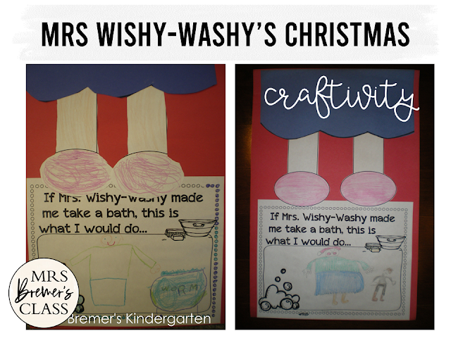 Mrs Wishy Washy's Christmas book study activities unit with Common Core aligned companion literacy activities & craftivity Kindergarten & First Grade