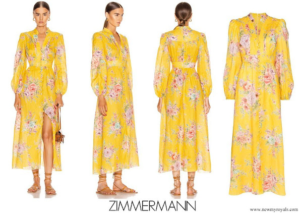 Princess Claire wore Zimmermann Zinnia Button Front Long Dress
