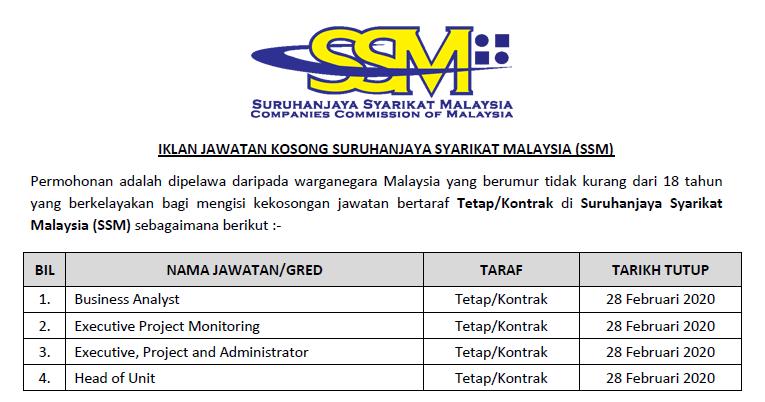Jawatan Kosong Terkini 2020 Di Suruhanjaya Syarikat Malaysia Ssm