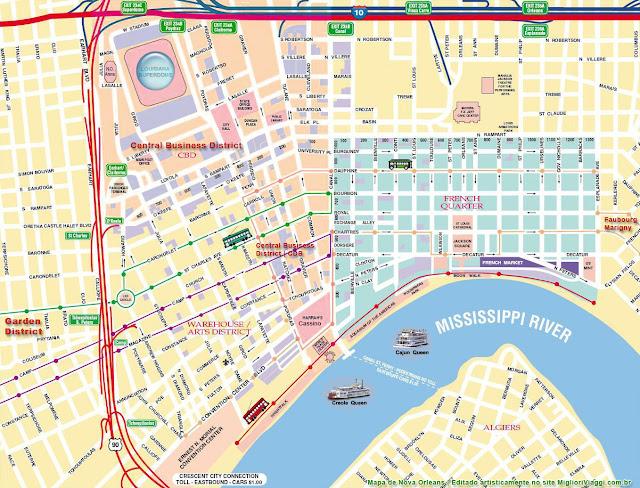 Mapa de New Orleans | Arredores, bondes e atrações