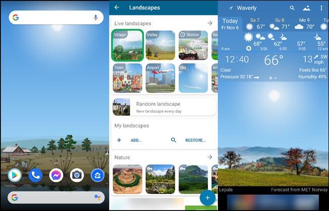 ثلاث مناظر طبيعية والطقس المحلي على تطبيق Yowindow.