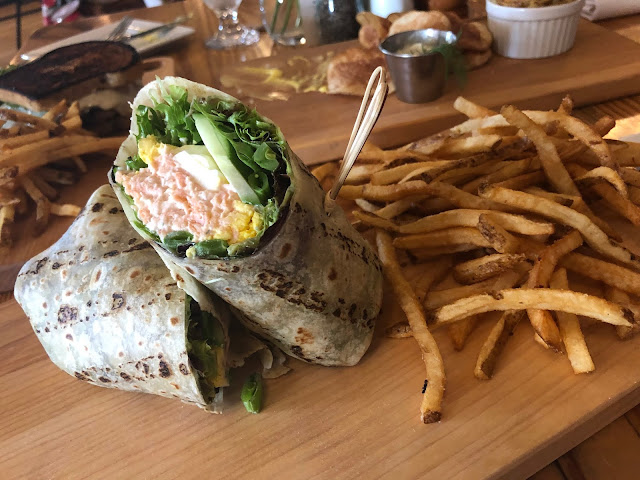 Delicious Salmon Salad Wrap and Fries at The Norwegian in Rockford, Illinois