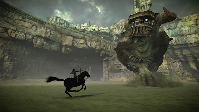 An image of Wander on horseback, firing an arrow at the second colossus.