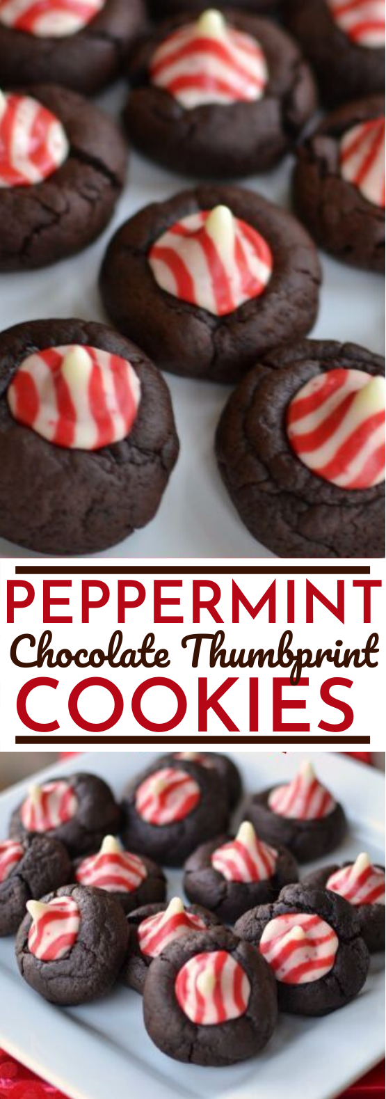 Peppermint Chocolate Thumbprint Cookies #cookies #recipe #christmas #desserts #baking