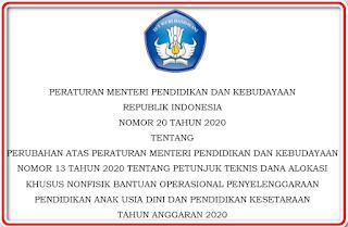 Permendikbud Nomor 20 tahun 2020 (Revisi Juknis BOP PAUD)