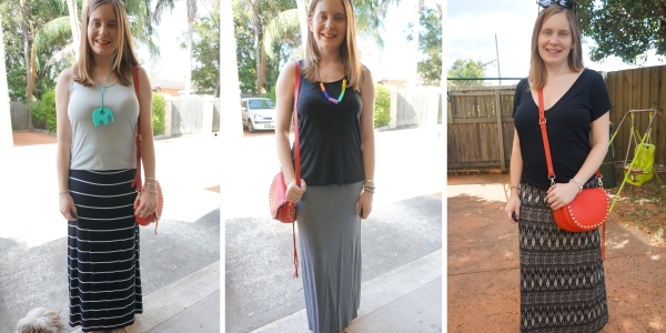 3 ways to wear red saddle bag with monochrome maxi skirt outfits | awayfromblue