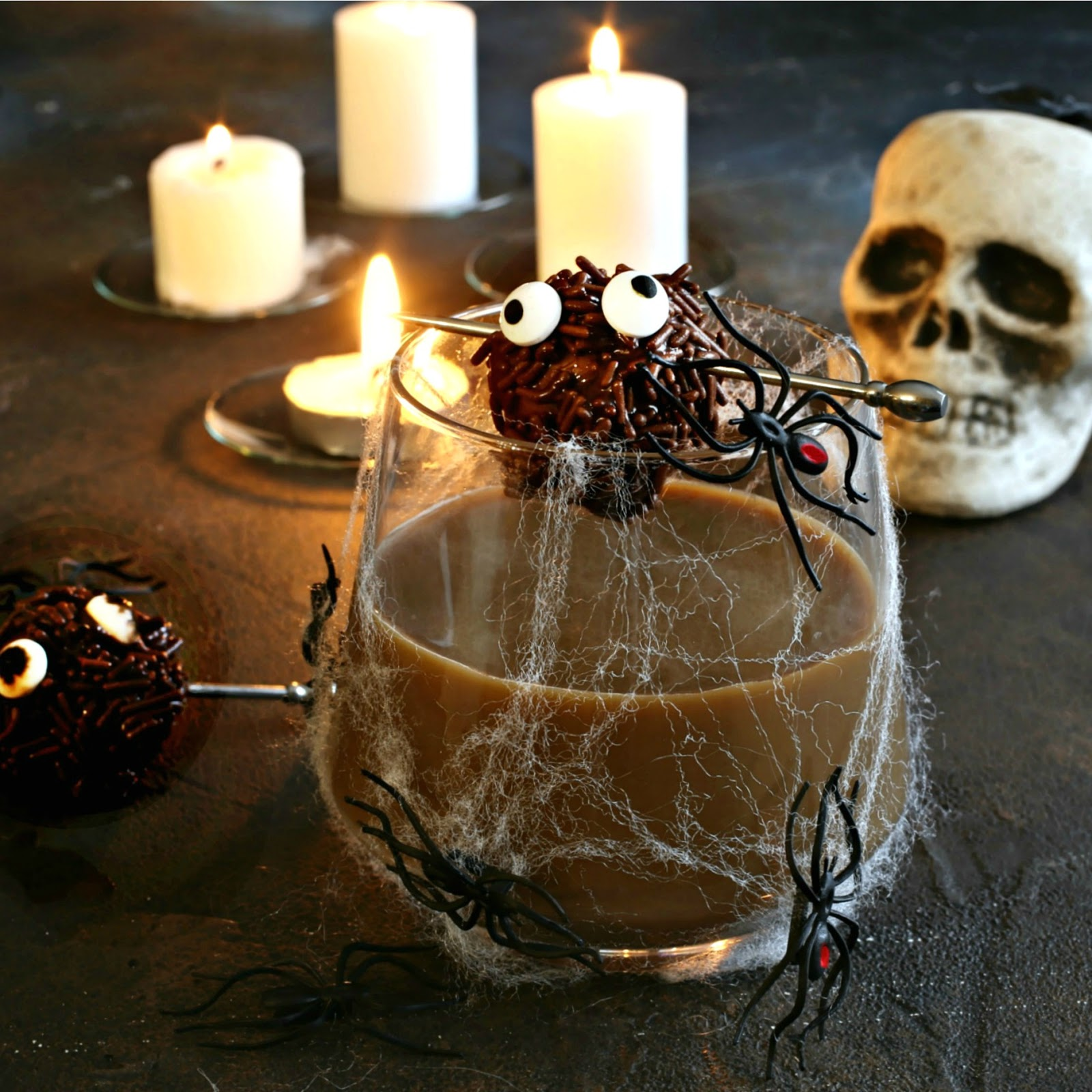 Recipe for a bourbon and chocolate cocktail, served with edible chocolate monsters.