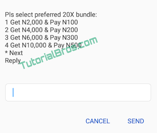 After if you have selected your preferred bundle, you will enjoy any of the selected options above for a period of 1month (30 days).
