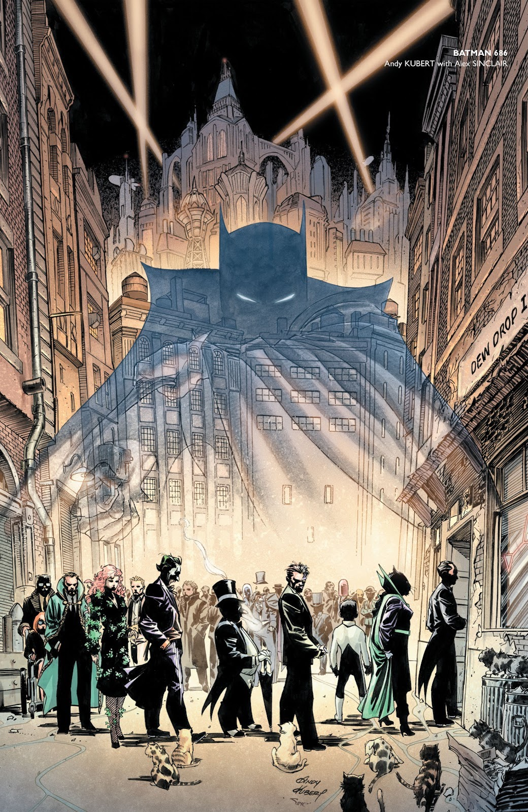 Batman in spectral form above queue of his friends and foes on a run-down side street with gothic cityscape rising behind, framed by searchlights