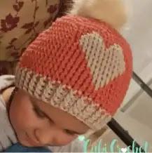 Gorro Corazón a Crochet