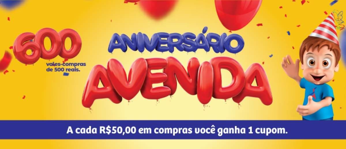 Promoção Avenida Supermercados 72 Anos Aniversário 2019 - Vales-Compras 500 Reais