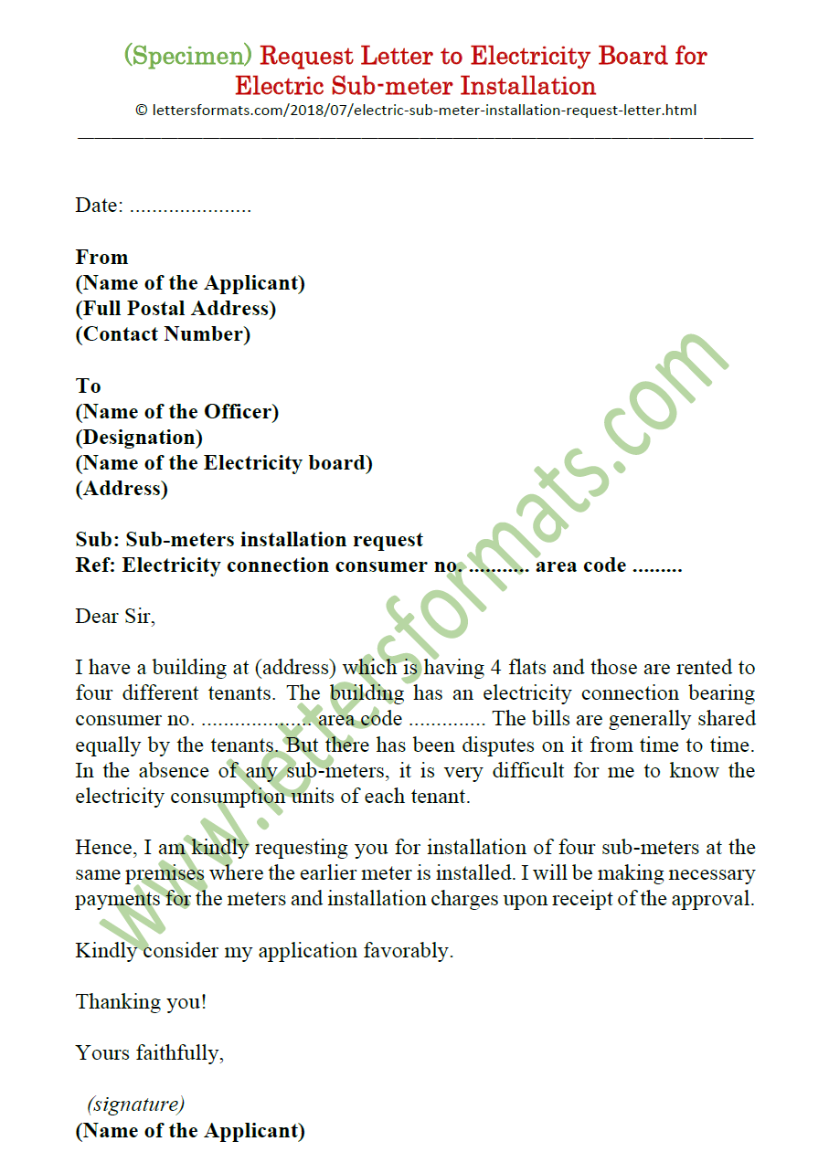 Electric Sub-meter Installation Request Letter to