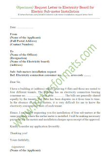 request letter to electricity board for electric sub-meter installation