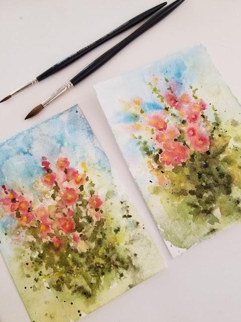 Hollyhocks in watercolor on watercolor paper.
