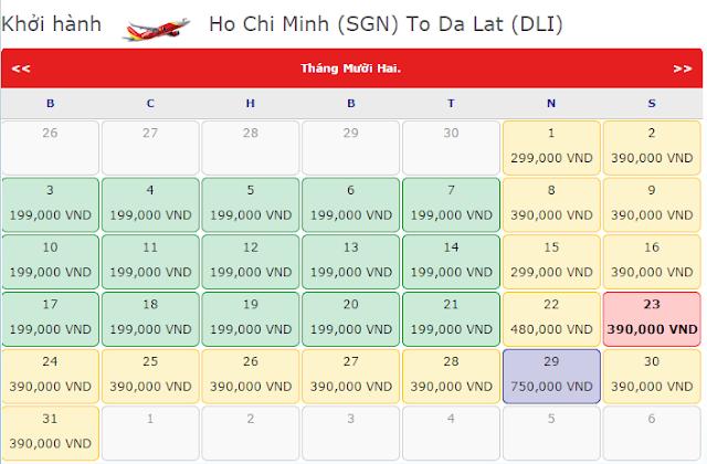 Giá vé máy bay từ TPHCM đi Đà Lạt tháng 12