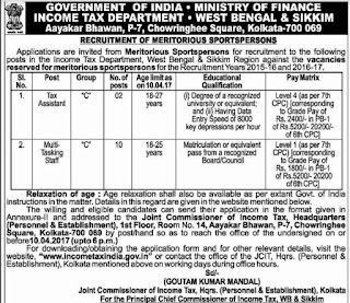 Income Tax Department Recruitment 2017