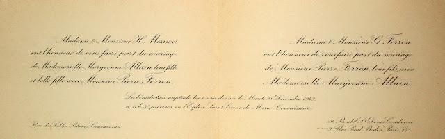 Faire-part de mariage de Maryvonne ALLAIN et Pierre FERRON