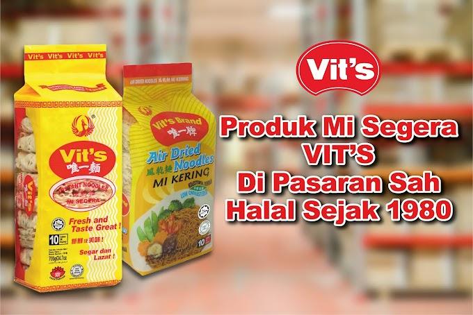 Produk Mi Segera VIT'S di pasaran Sah Halal sejak 1980